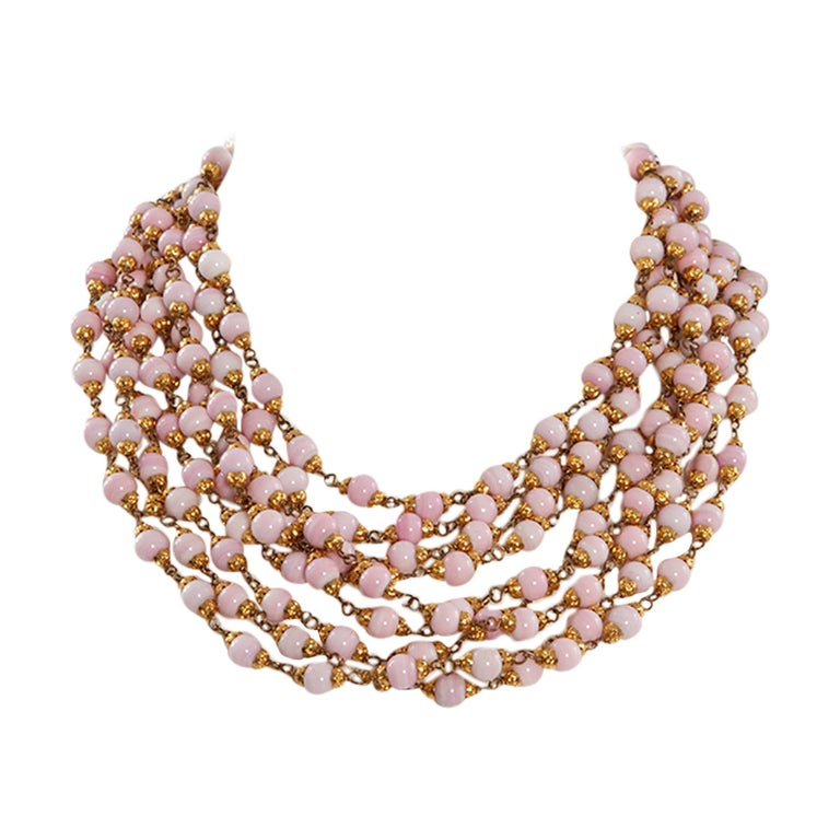 1993 Chanel Angel's Skin Coral Multi-Strand Necklace