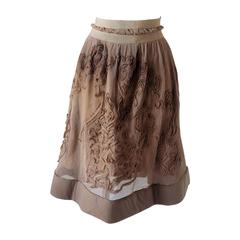 1980s Philosophy by Alberta Ferretti light brown / nude skirt NWOT