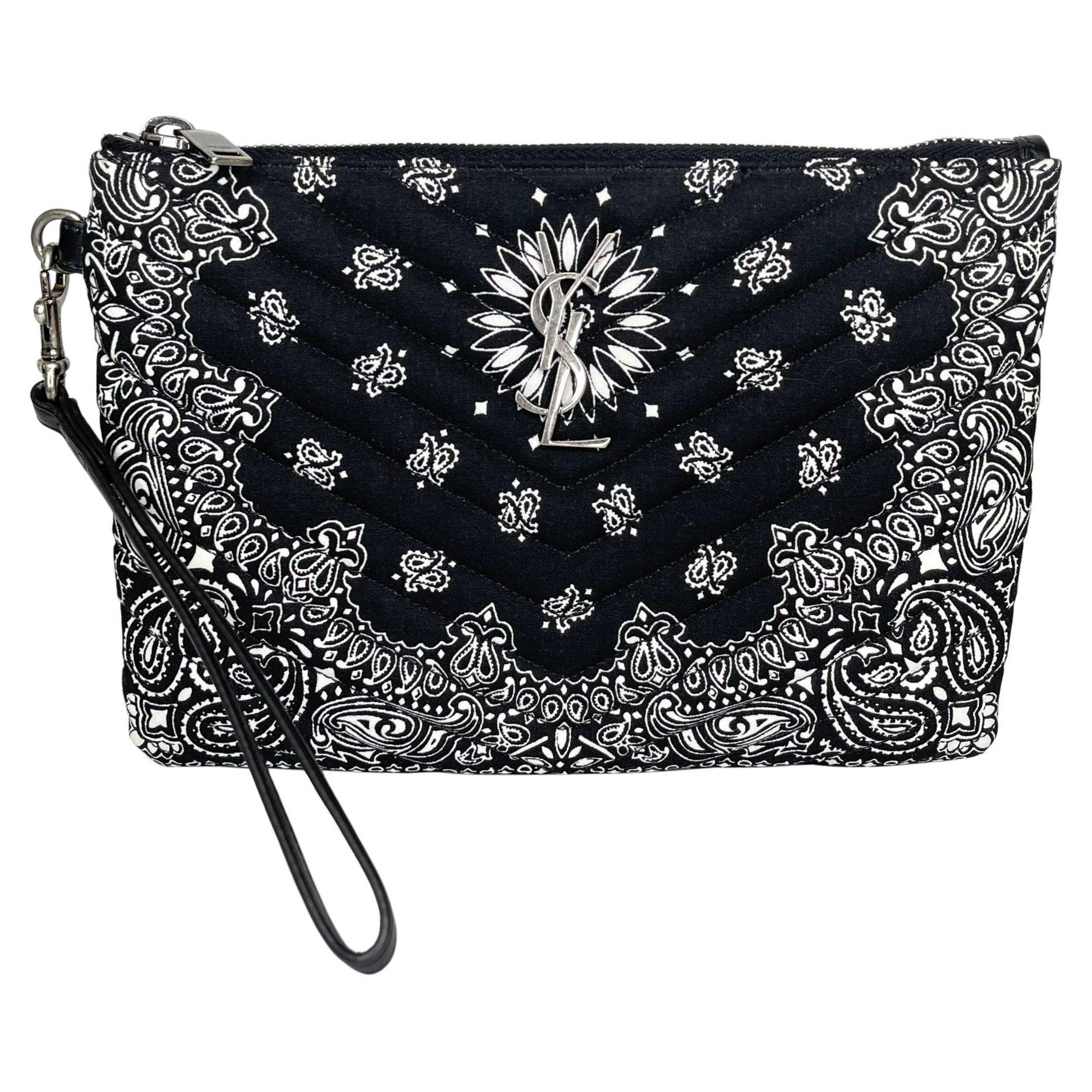 Saint Laurent Bandana Black Monogram Wristlet Pouch Bag