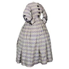 A French Chiné Silk Crinoline Day Dress Circa 1855