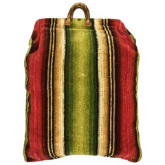 Travel Bag in Cut Wool Tapestry and Leather - France Late 18th century