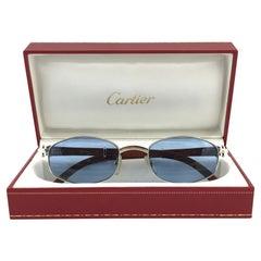Vintage Cartier Cartayat Wood 53mm Platine Precious Wood Brown Lens Sunglasses