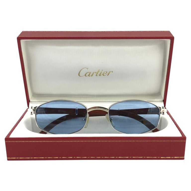 Vintage Cartier Cartayat Wood 53mm Platine Precious Wood Brown Lens Sunglasses  For Sale
