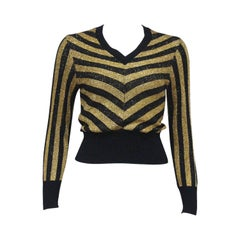 Mary Quant black and gold striped lurex sweater, c. 1970s