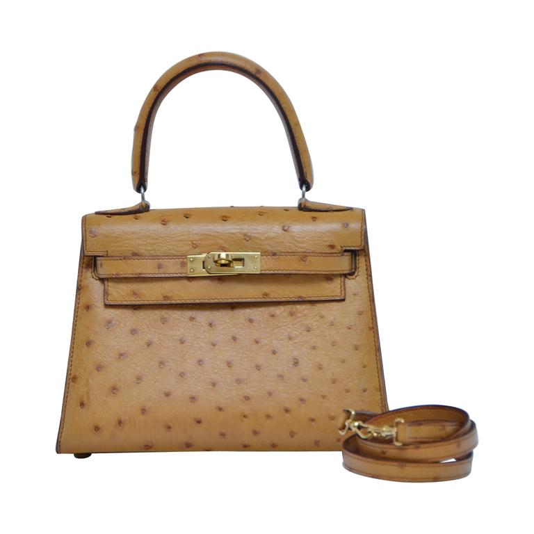 4f92fb48b99 HERMES Very Special Mini Vintage Ostrich Kelly 20 CM Gold Natural Color Mint  For Sale