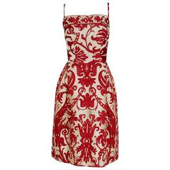 1960's Burke-Amey Burgundy Red & Ivory Graphic Print Woven-Silk Cocktail Dress