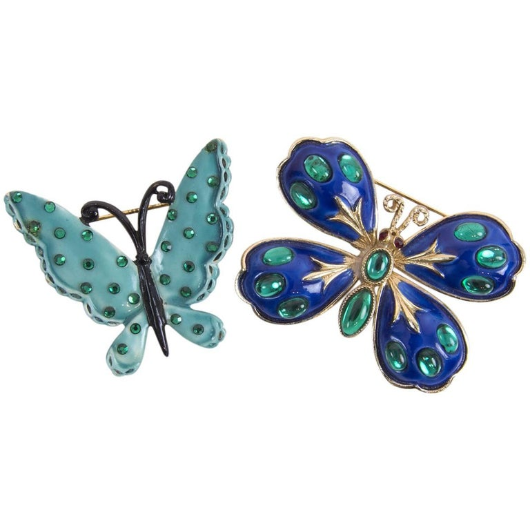 Signed HAR Blue Enamel and Turquoise Enamel Butterfly Brooch Pins  For Sale