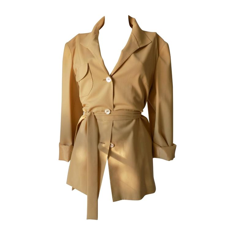 1980s Genny by Gianni Versace light brown wool jacket