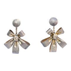 1965s Yves Saint Laurent Gilt Bow Shape Dangling Earrings