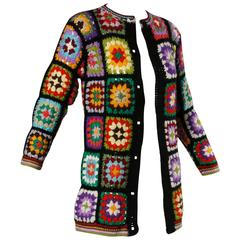 Adolfo for Neiman Marcus Vintage Wool Granny Squares Crochet Cardigan Sweater
