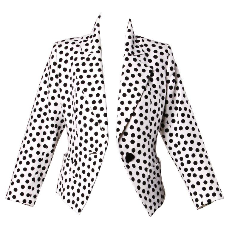YSL Yves Saint Laurent Rive Gauche Vintage Black + White Polka Dot Blazer Jacket For Sale