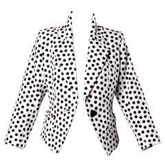 YSL Yves Saint Laurent Rive Gauche Vintage Black + White Polka Dot Blazer Jacket