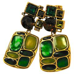 Oscar de la Renta Vintage Modernist Dangle 3 inch Long Clip Style Earrings
