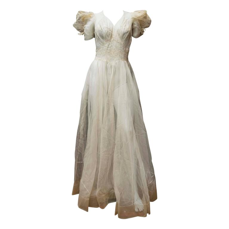 1930s Sheer Ivory Wedding Dress 1