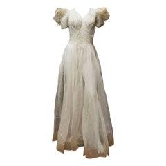 1930s Sheer Ivory Wedding Dress