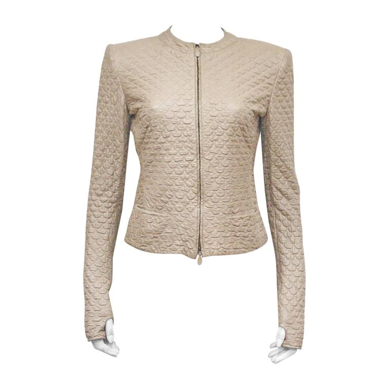 Alexander McQueen quilted nude leather jacket, c. 2004