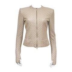 Alexander McQueen quilted nude leather jacket, c. 2004