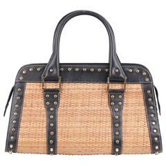 FENDI Italian STRAW & Black Leather STUDDED LARGE TOTE Handbag SATCHEL
