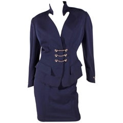 1980's Thierry Mugler Suit Skirt - dark blue silver chain buttons