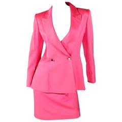 1980s Claude Montana Skirt Suit - Shocking Pink