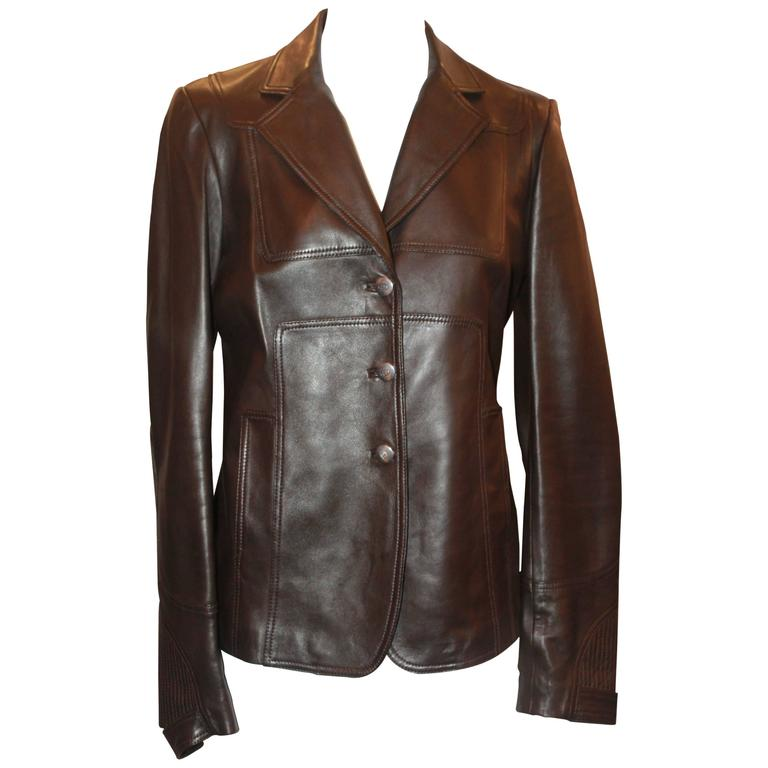 Gucci Chocolate Leather Fitted Jacket - 8