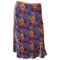 Etro Purple Velvet A-Line Skirt w/ Subtle Fish Tail & Floral Pattern - 8/42
