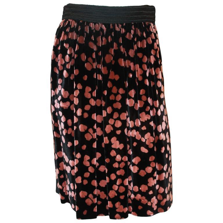 Galliano Vintage Black Velvet Skirt w/ Pink Spots - S - 1990's For Sale