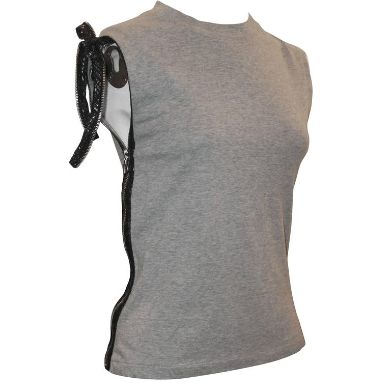 Christian Dior Grey Cotton Sleeveless Top w/ Leather Side Zip & Bow- US: 8 FR:40 1