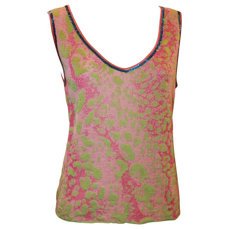 Emanuel Ungaro Pink & Green Silk Knit Tank w/ Blue Sequin Trim - 8 - NWT