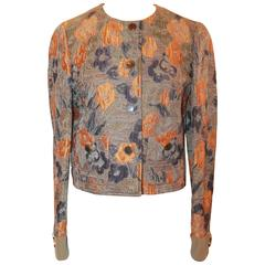 Etro Taupe, Orange, Purple, & Green Silk Brocade Floral Pattern Jacket - S/40