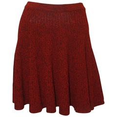 Alexander McQueen Red & Black Wool Cable Knit Flare Skirt w/ Elastic Waist - M