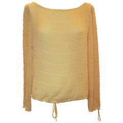Badgley Mischka Pale Yellow Silk Chiffon Long Sleeve Top w/ Beading - 4