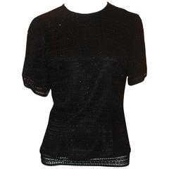Carmen Marc Valvo Black Crochet Knit Short Sleeve Top w/ Beading - M