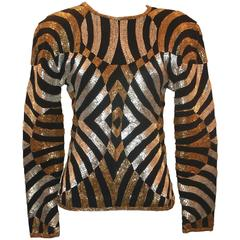 Adrienne Vittadini Vintage Black, Gold, and Silver Wool Jersey Long Sleeve Top-S