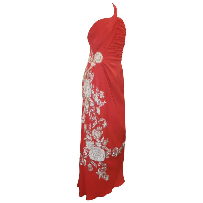 Naeem Khan Coral Silk One Shoulder Gown w/ White Floral Beading & Shawl - 12 1