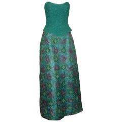 Rose Taft Vintage Purple & Teal Silk Blend Strapless Gown w/ Floral Design - 10