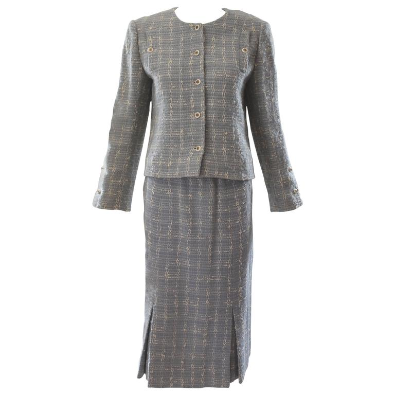 Chanel Blue Tweed Skirt Suit  1