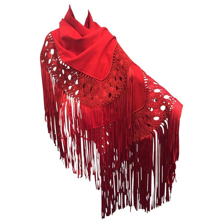 1970s Stunning Wool and Ribbon Cardinal Red Macrame Fringed Shawl 1