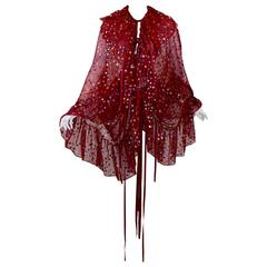 c1978 Yves Saint Laurent Voluminous Caped Blouse Red Silk & Metallic Dots