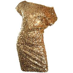 Amazing Vintage Paul & Joe Gold Sequin 90s Sexy Disco Dress Made in France