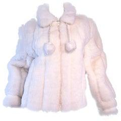 Vintage Oleg Cassini Winter White Faux Fur ' Pom Pom ' Jacket Coat