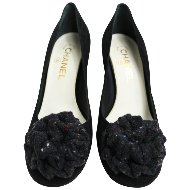 Chanel Black Suede Shoes