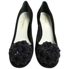 Chanel Black Suede Ribbon  Shoes