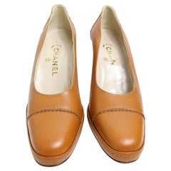 Vintage 90s Chanel Camel Leather Pumps