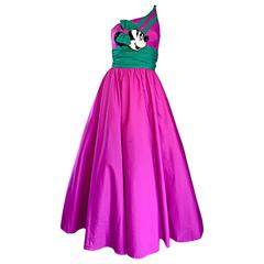 Limited Edition Vintage 1980s Mike Benet Minnie Mouse Purple One Shoulder Dress
