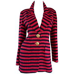 Vintage Christian Dior Couture Red + Navy Blue Striped Nautical Blazer Jacket