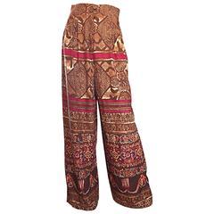 Amazing Vintage Christian Lacroix 1990s High Waisted Ethnic Snake Wide Leg Pants
