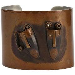 Mid Century Modern Rebajes Comedy and Tragedy Copper Cuff Bracelet
