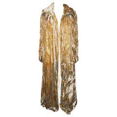 1920's Jean Patou Haute Couture Gold Brocade Velvet Cape