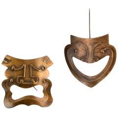 Dramatic Modernist Rebajes Vintage Copper Comedy 'n Tragedy Brooch Pins